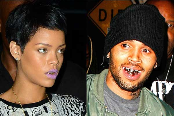 Rihanna hits back at Chris Brown with gold teeth grill