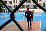 Is that Spiderman ballin with a couple kids?