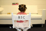 Blue Ivy Chills in her own custom tour chair