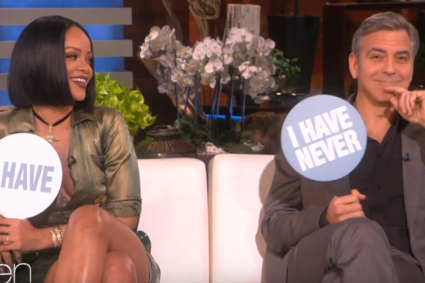 Rihanna and George Clooney play 'Never Have I Ever' with Ellen