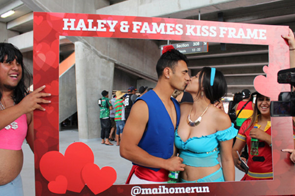 Haley and Fame's NRL Auckland Nines Kiss Frame photos