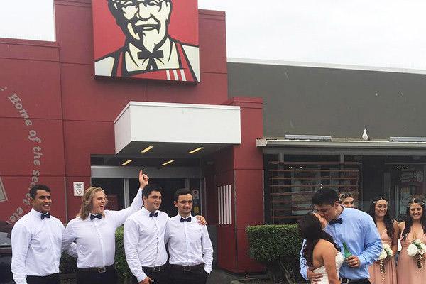 Kiwi couple's KFC Wedding photos go viral