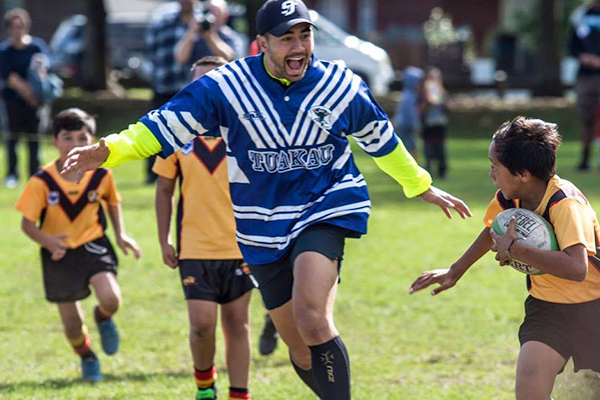 Shaun Johnson plays the waterboy for the U10s Manurewa Marlins