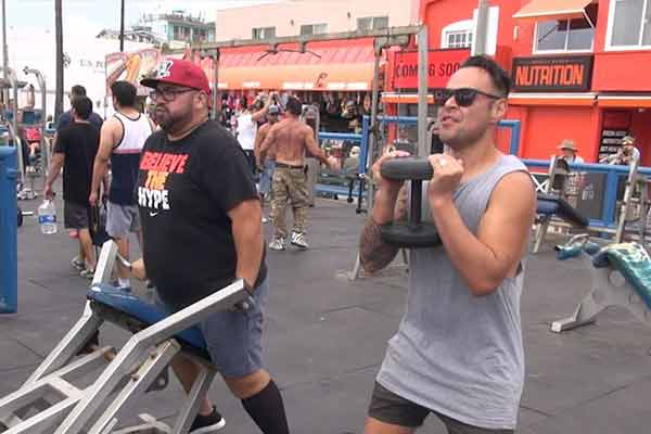 Nickson and Nate workout at Muscle Beach