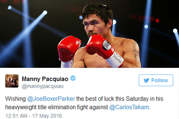 WATCH: Manny Pacquiao is backing Joseph Parker
