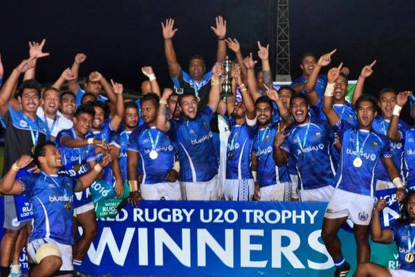 Samoa U20s celebrate winning 2016 World Rugby Trophy with the Siva Tau