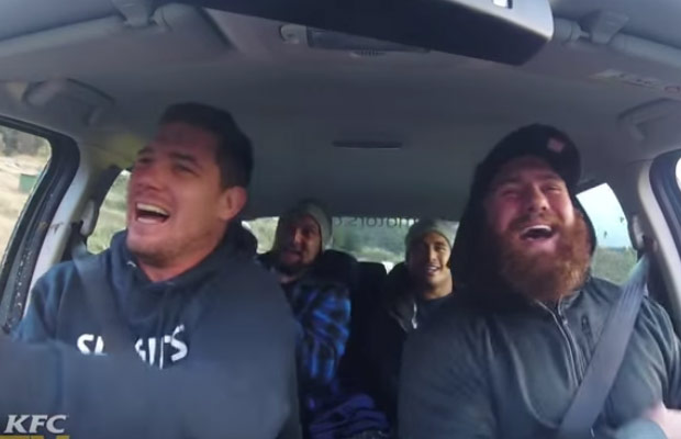Extreme Carpool Karaoke with All Black Aaron Smith and Highlanders Players