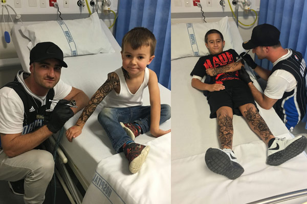 PHOTOS: Tattoo artist brings smiles to Starship Hospital
