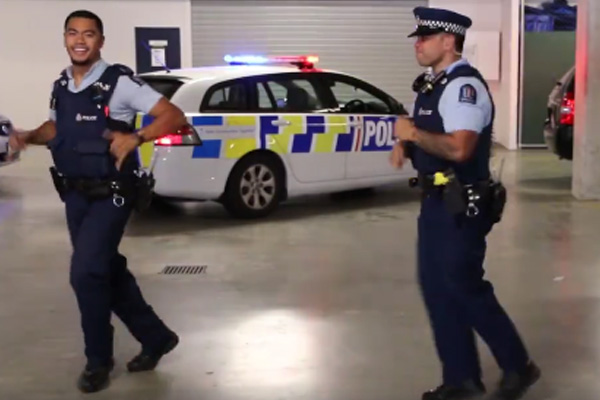 NZ Police get amongst the #RunningManChallenge