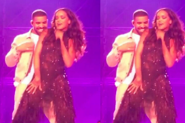 WATCH: Drake kisses Rihanna's neck whilst performing 'work'
