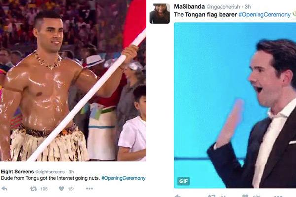 Tonga's Olympic Flag Bearer has Twitter going CRAZY!